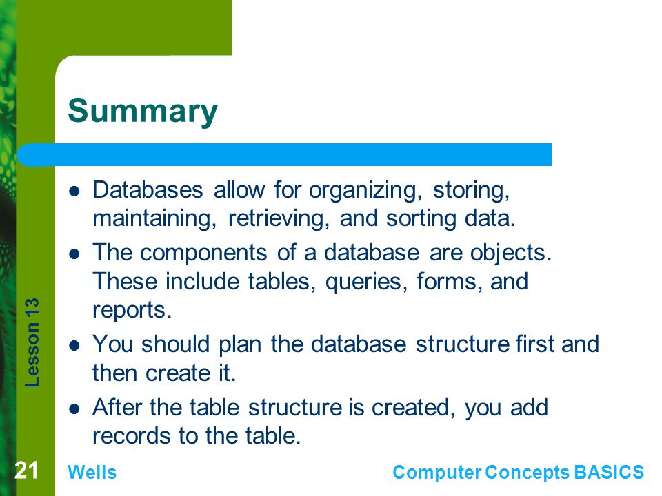 Summary Databases allow for organizing, storing, maintaining, retrieving, and sorting data.