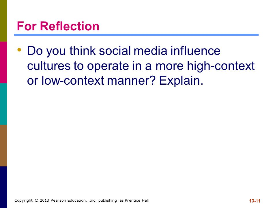 For Reflection Do you think social media influence cultures to operate in a more high-context or low-context manner Explain.