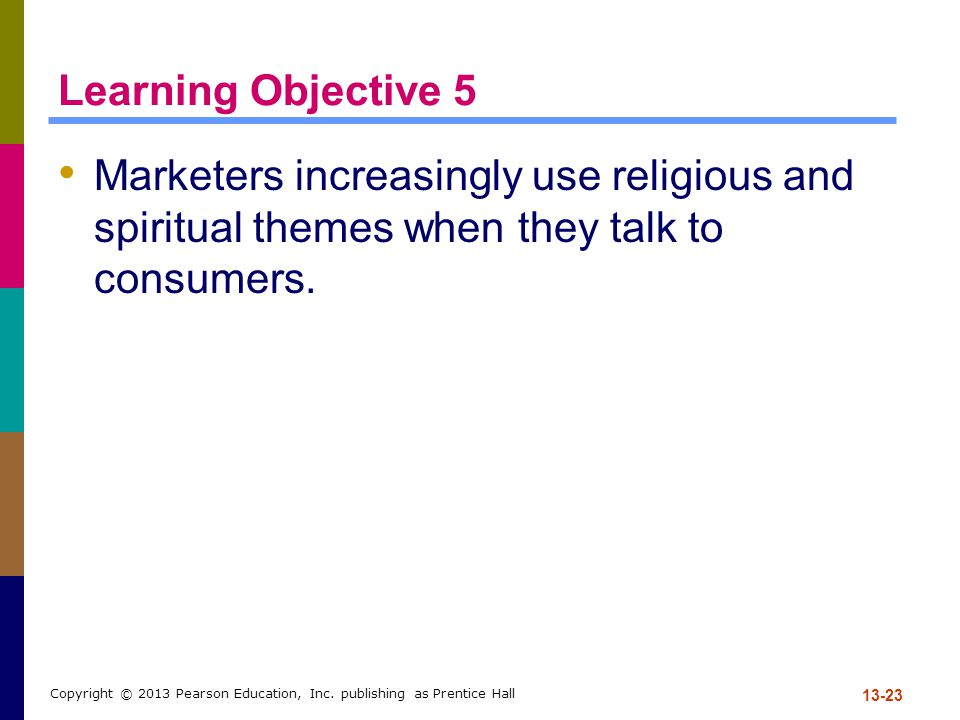 Learning Objective 5 Marketers increasingly use religious and spiritual themes when they talk to consumers.