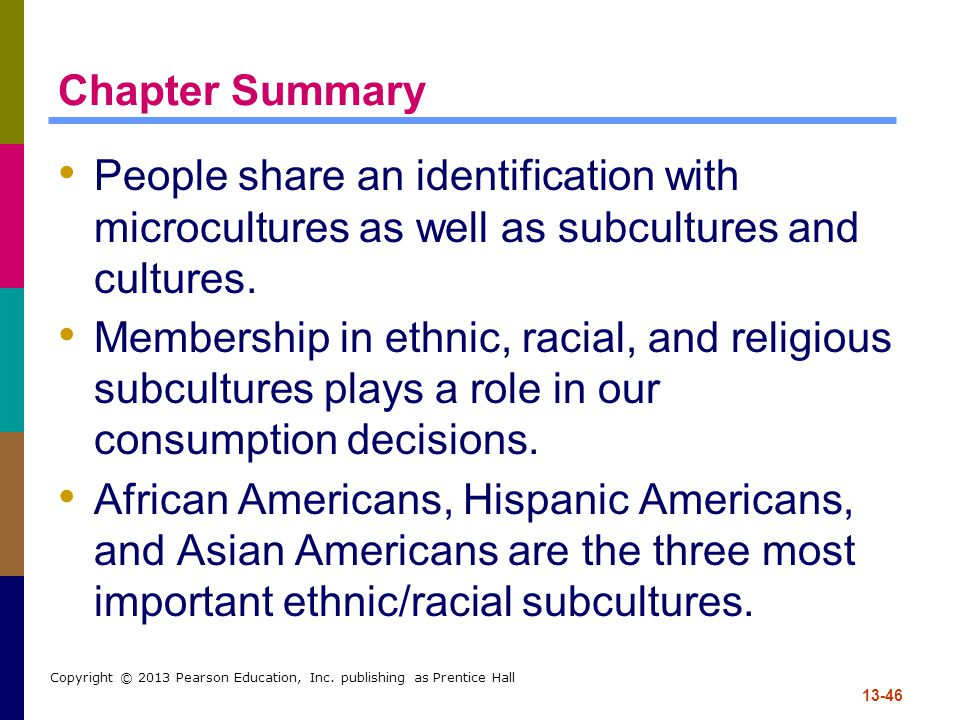 Chapter Summary People share an identification with microcultures as well as subcultures and cultures.
