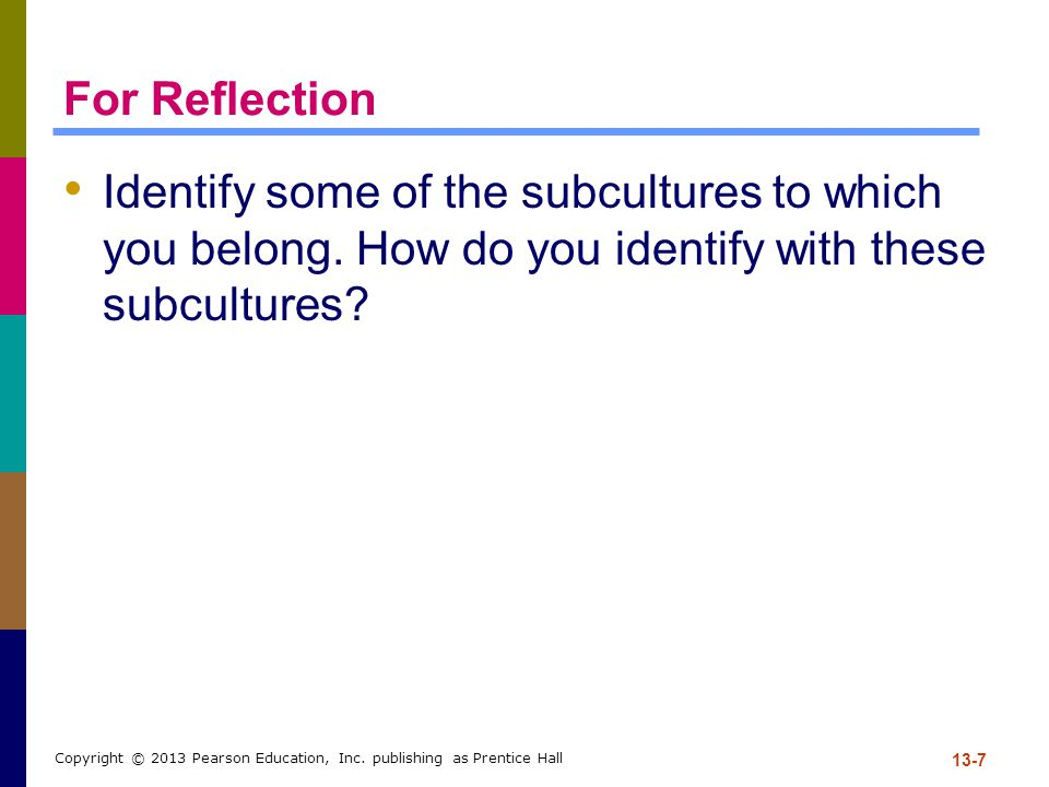 For Reflection Identify some of the subcultures to which you belong. How do you identify with these subcultures