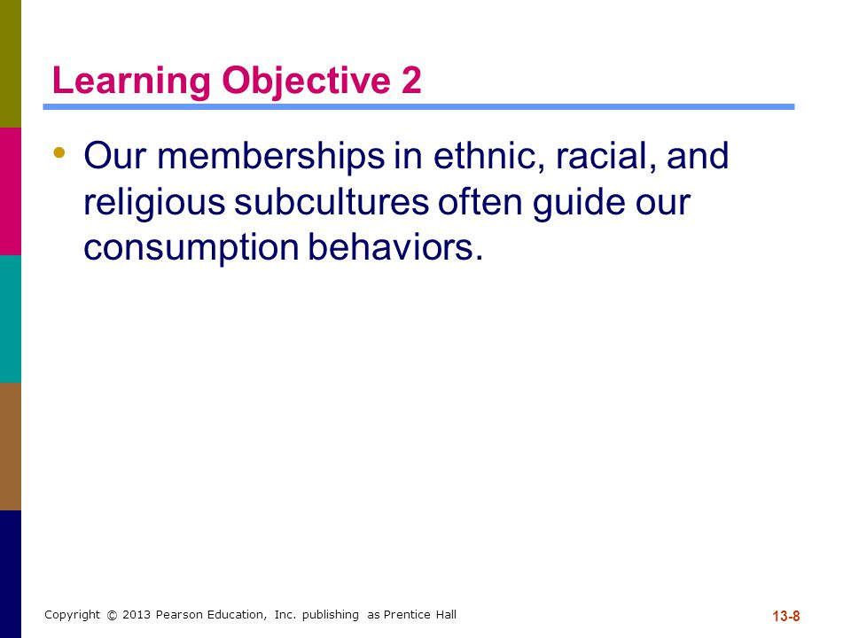 Learning Objective 2 Our memberships in ethnic, racial, and religious subcultures often guide our consumption behaviors.