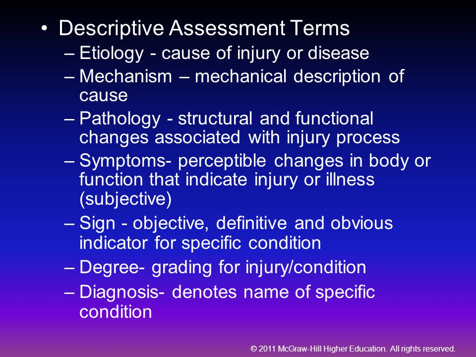 Descriptive Assessment Terms