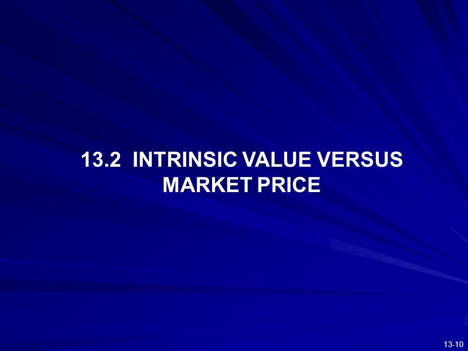 13.2 INTRINSIC VALUE VERSUS MARKET PRICE
