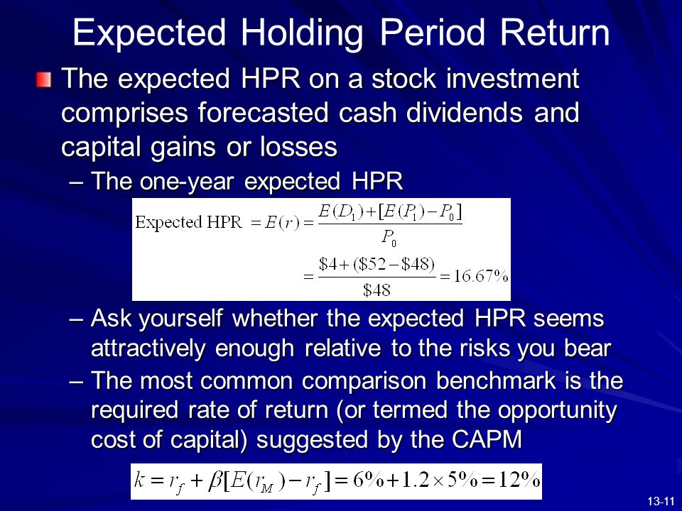 Expected Holding Period Return