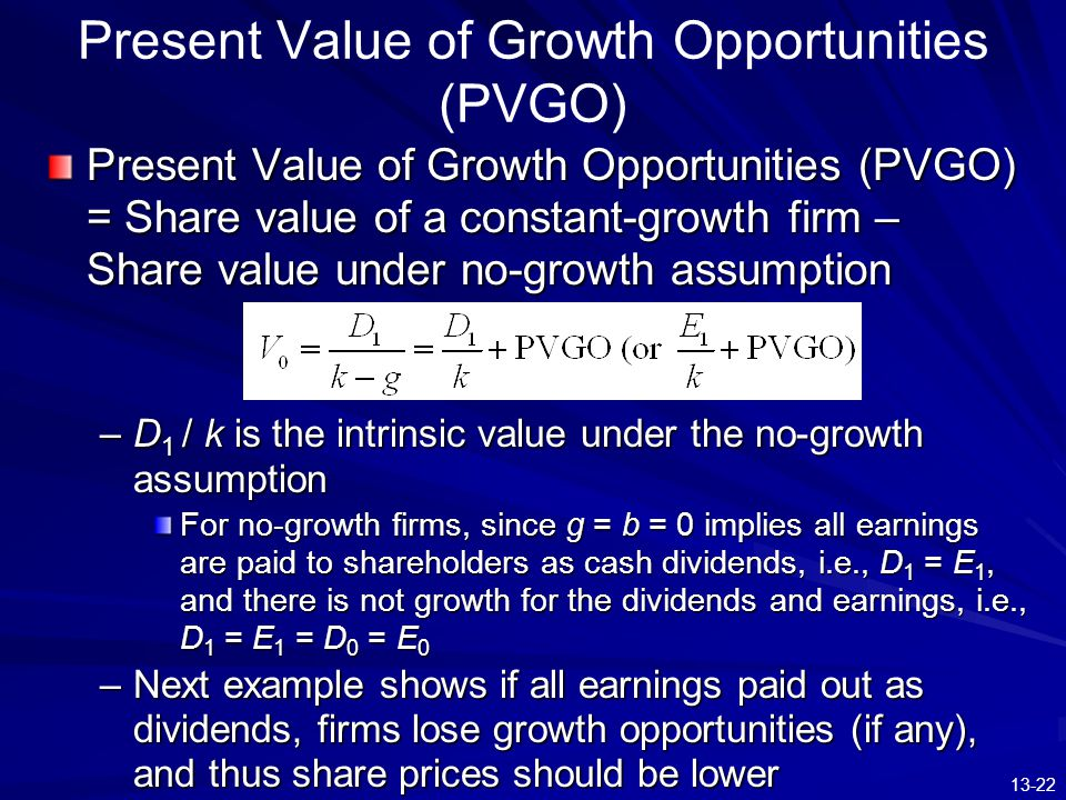 Present Value of Growth Opportunities (PVGO)