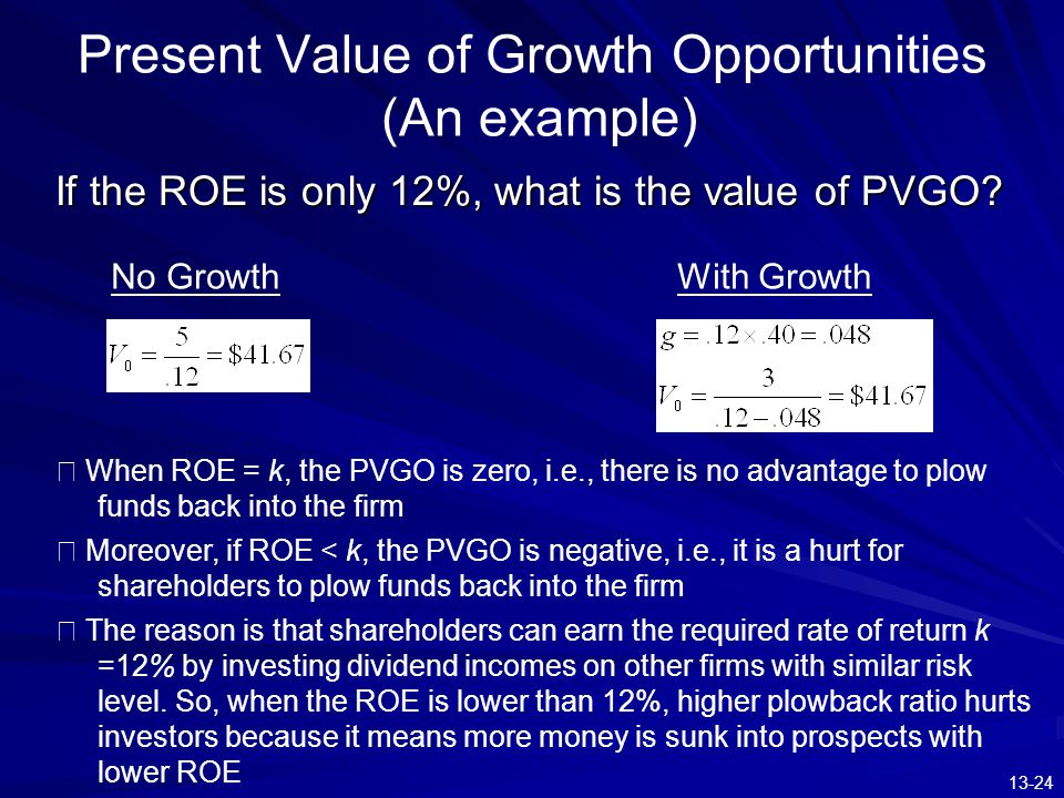 Present Value of Growth Opportunities (An example)