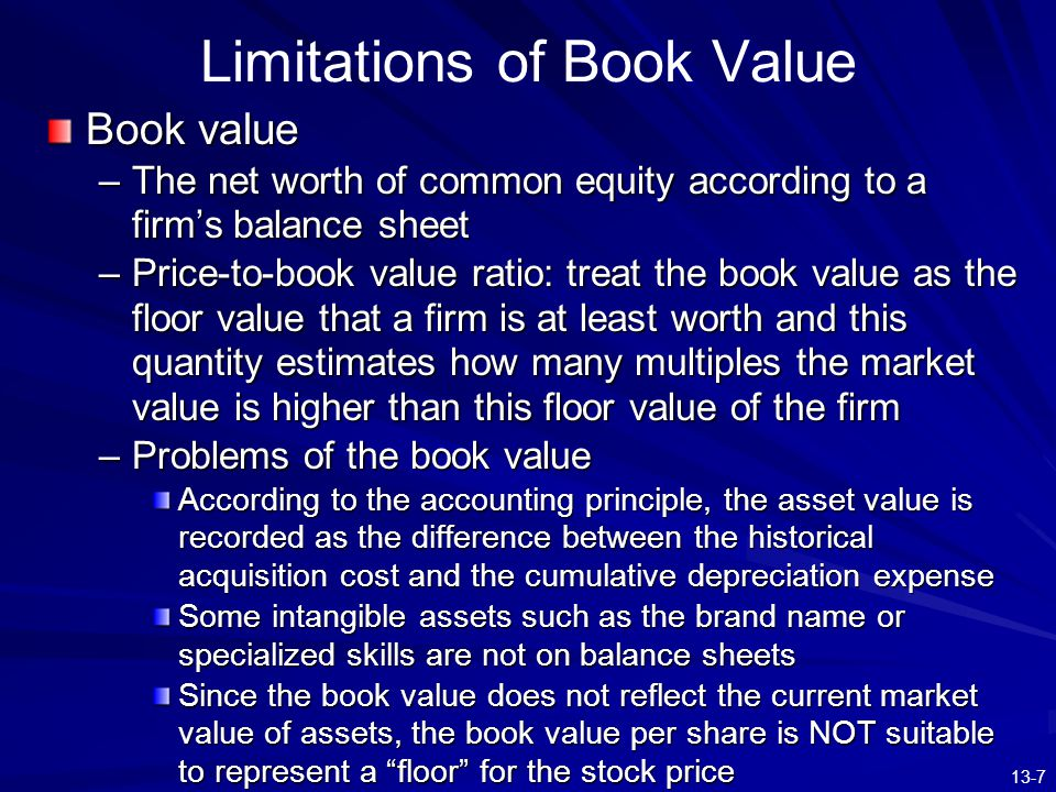 Limitations of Book Value