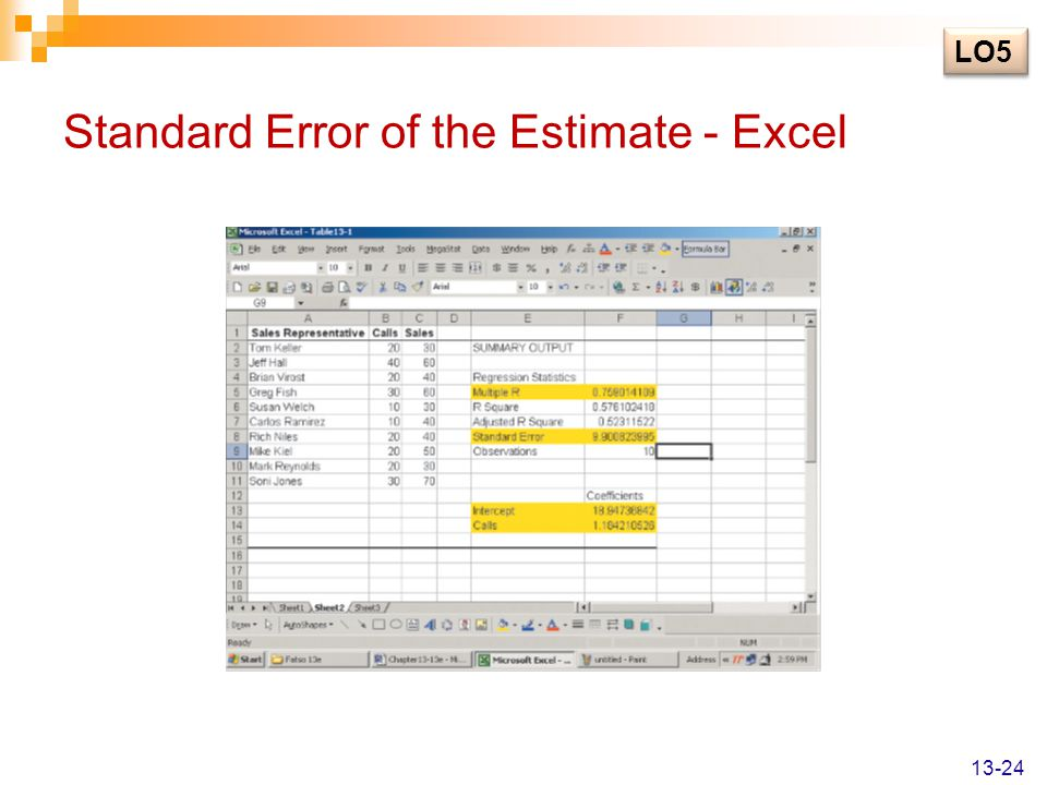 how to find standard error on excel