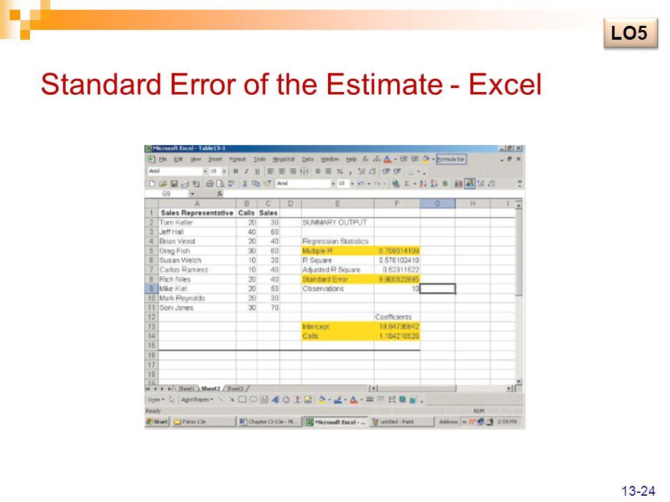 Standard Error of the Estimate - Excel
