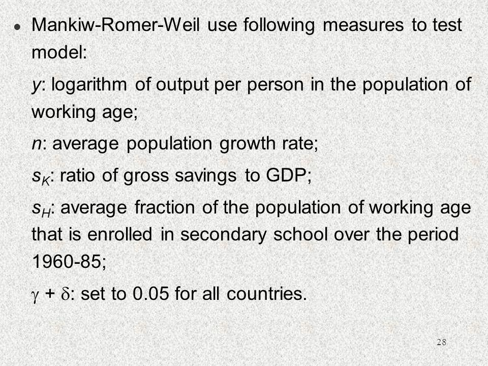 Mankiw-Romer-Weil use following measures to test model: