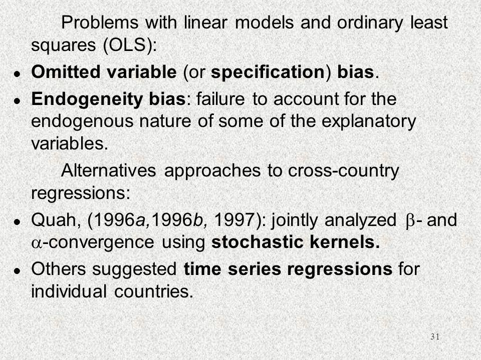 Problems with linear models and ordinary least squares (OLS):