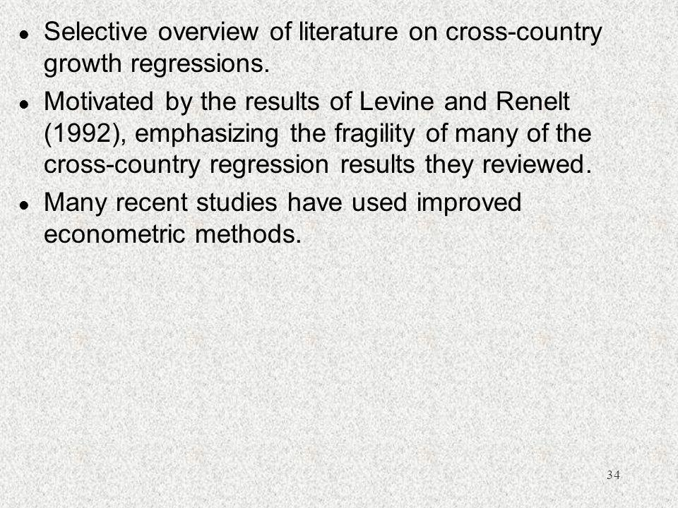 Selective overview of literature on cross-country growth regressions.