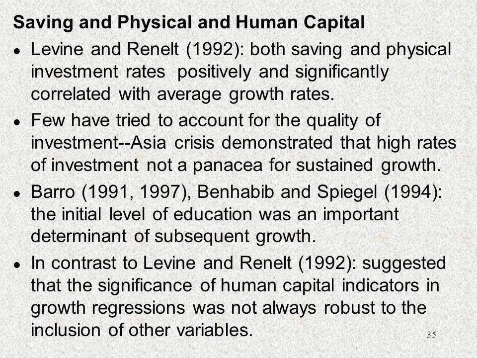 Saving and Physical and Human Capital