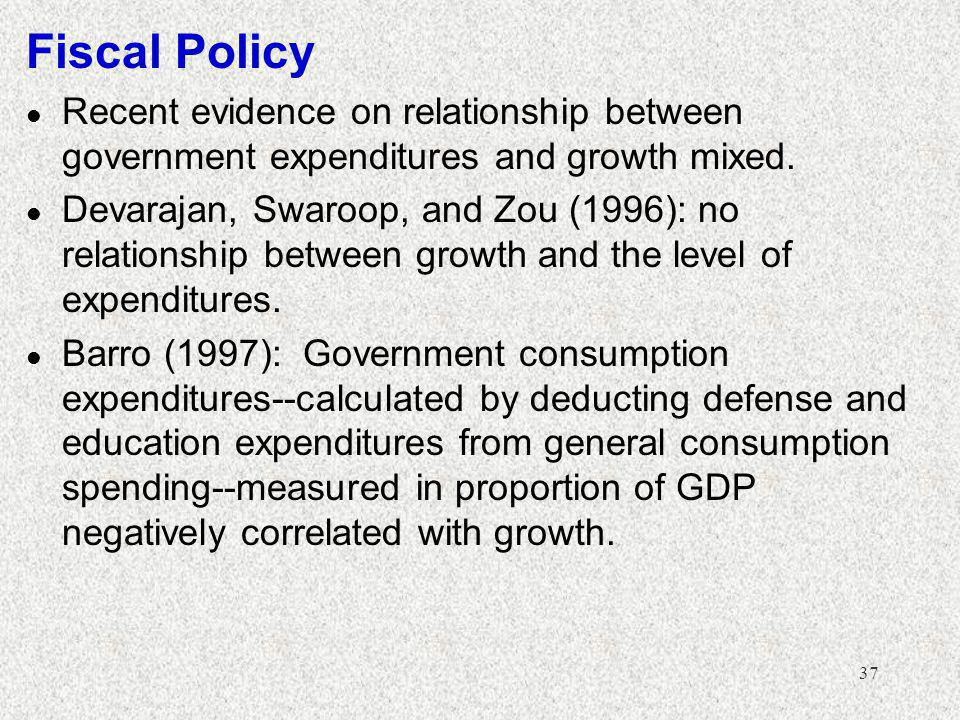 Fiscal Policy Recent evidence on relationship between government expenditures and growth mixed.