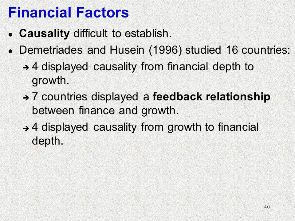 Financial Factors Causality difficult to establish.