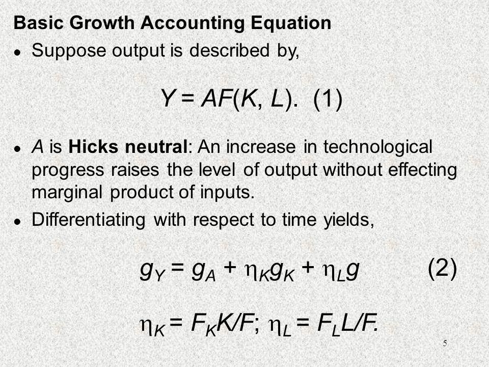 Y = AF(K, L). (1) gY = gA + KgK + Lg (2)