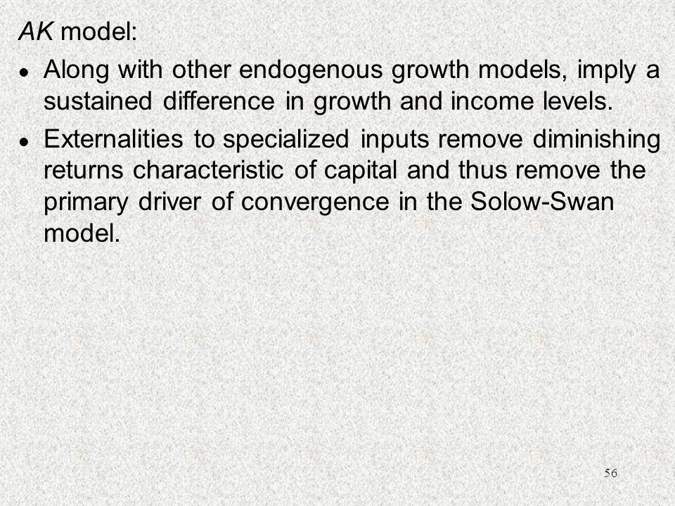 AK model: Along with other endogenous growth models, imply a sustained difference in growth and income levels.