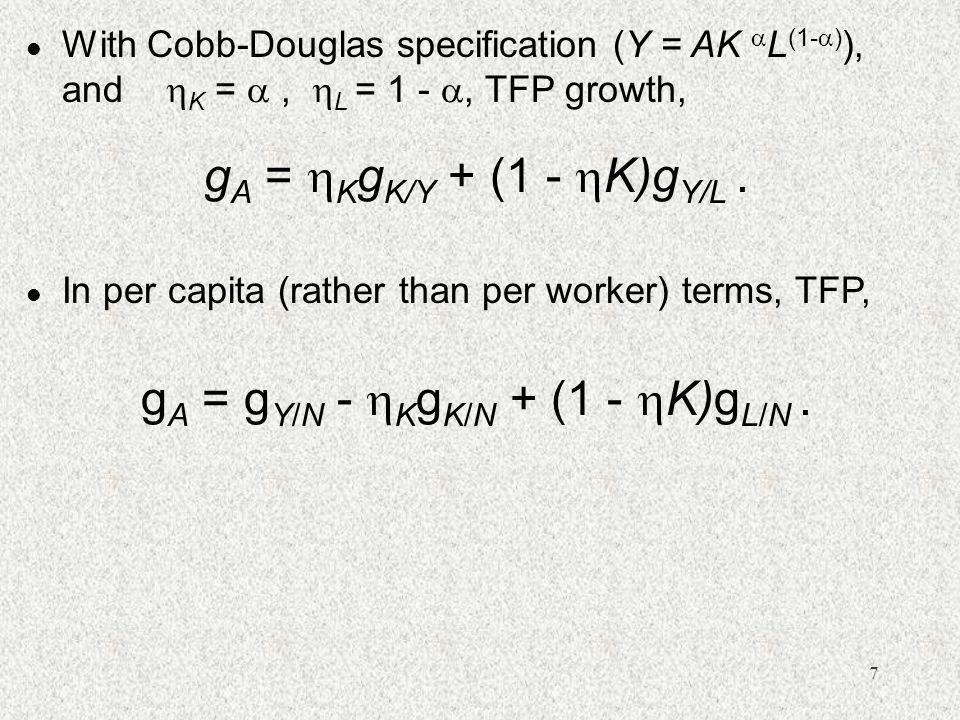 gA = gY/N - KgK/N + (1 - K)gL/N .