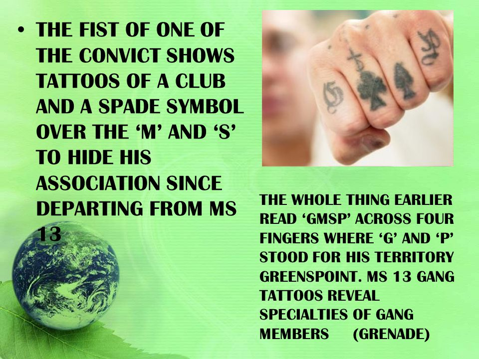 The fist of one of the convict shows tattoos of a club and a spade symbol over the 'M' and 'S' to hide his association since departing from MS 13
