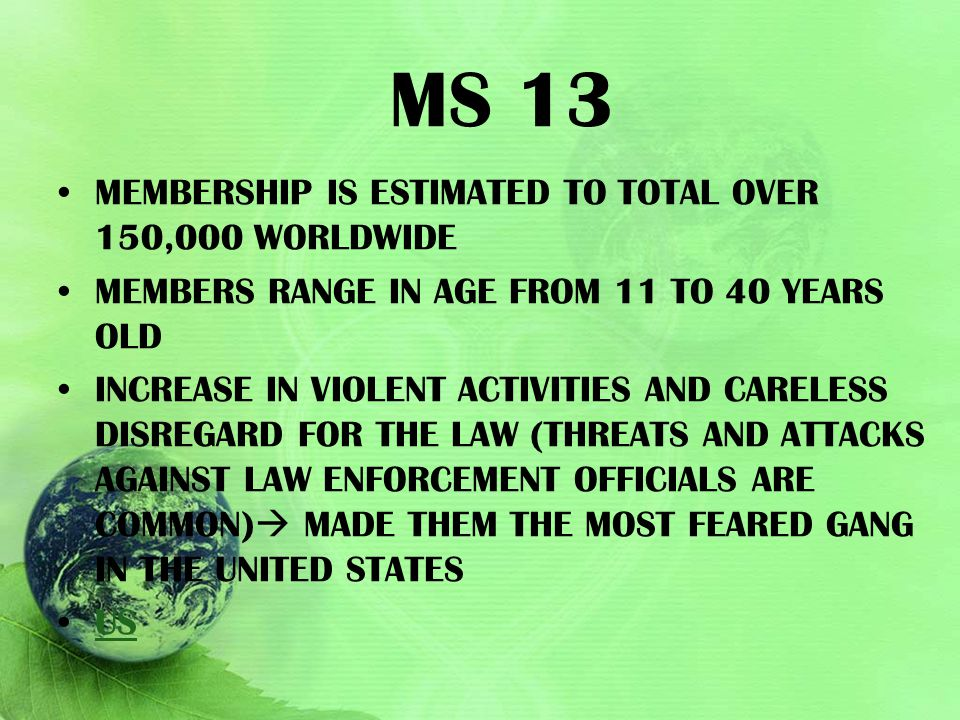 MS 13 membership is estimated to total over 150,000 worldwide