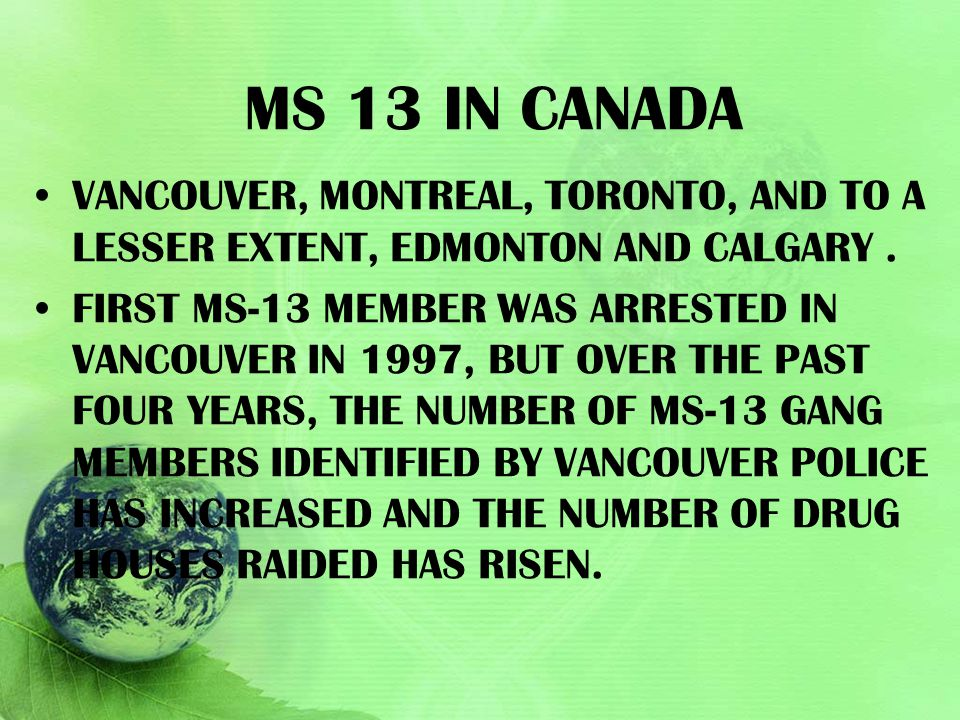 Ms 13 in Canada Vancouver, Montreal, Toronto, and to a lesser extent, Edmonton and Calgary .