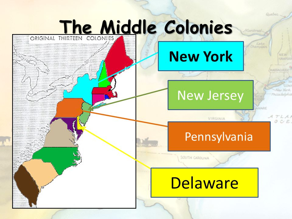 The Middle Colonies New York New Jersey Pennsylvania Delaware