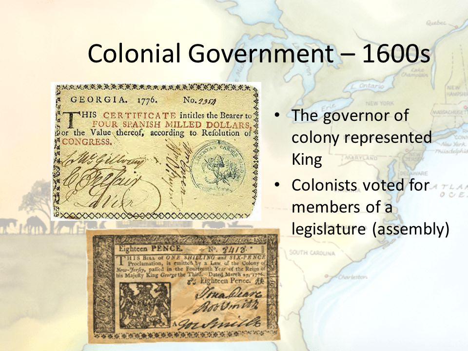 Colonial Government – 1600s