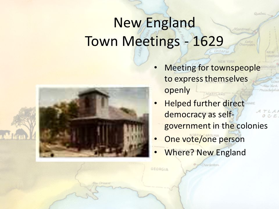 New England Town Meetings - 1629