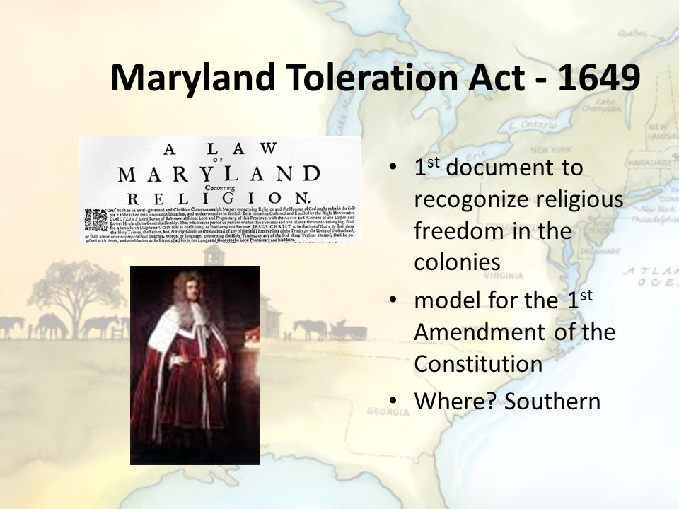 Maryland Toleration Act - 1649
