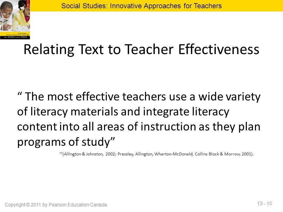 Relating Text to Teacher Effectiveness