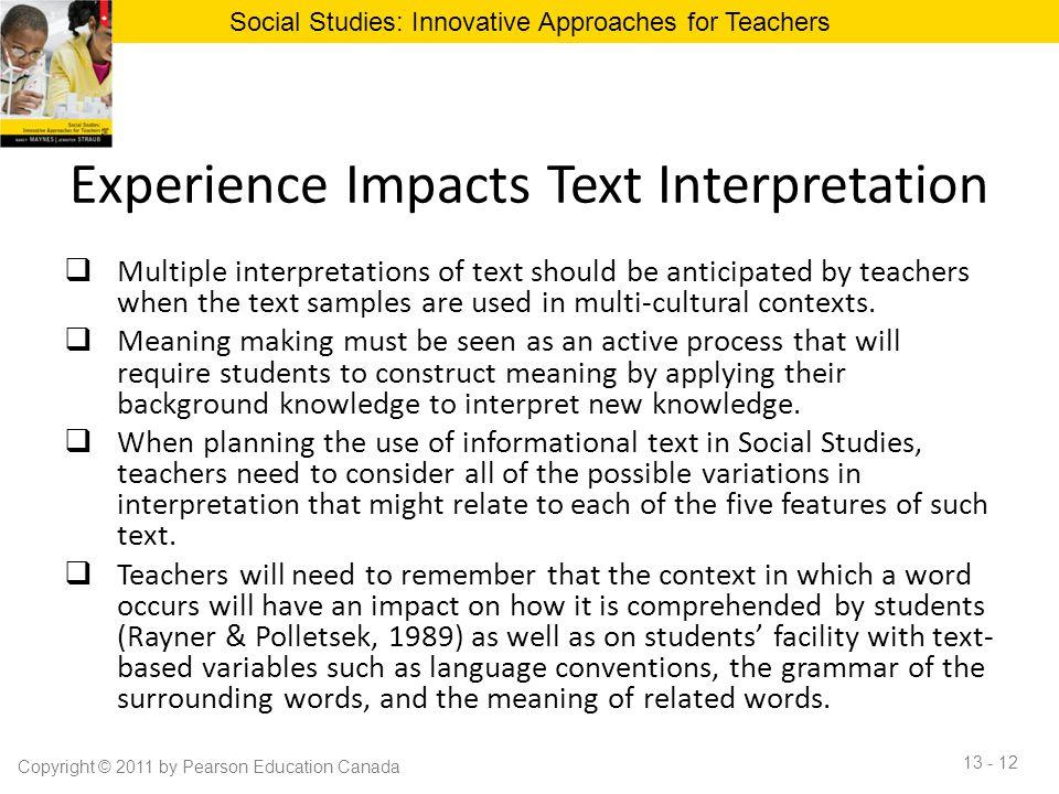 Experience Impacts Text Interpretation
