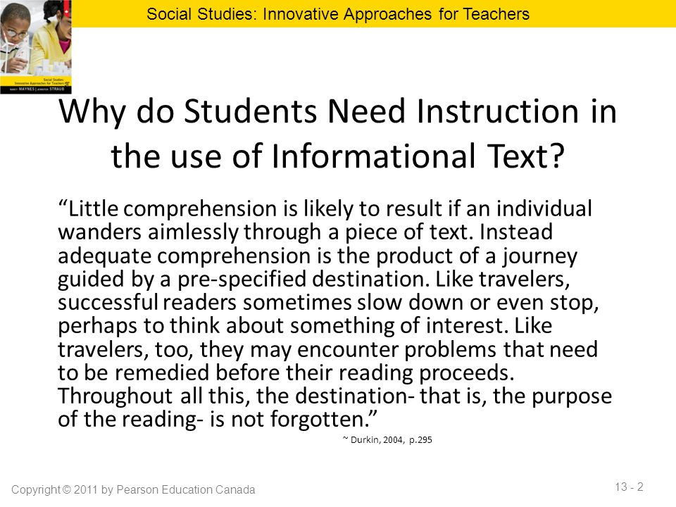 Why do Students Need Instruction in the use of Informational Text