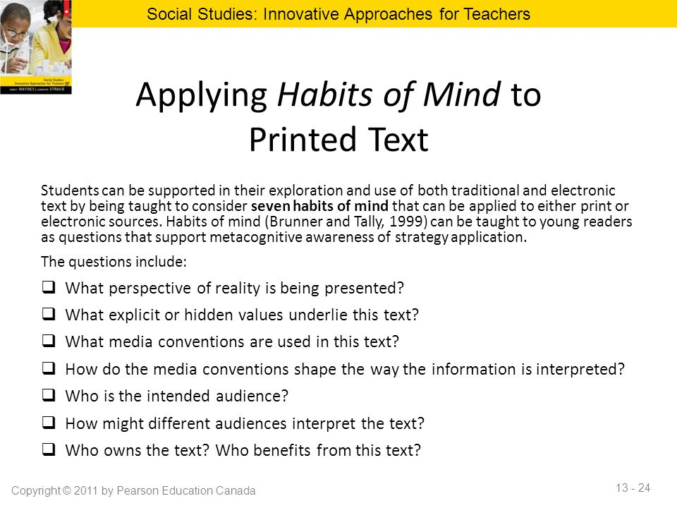 Applying Habits of Mind to Printed Text