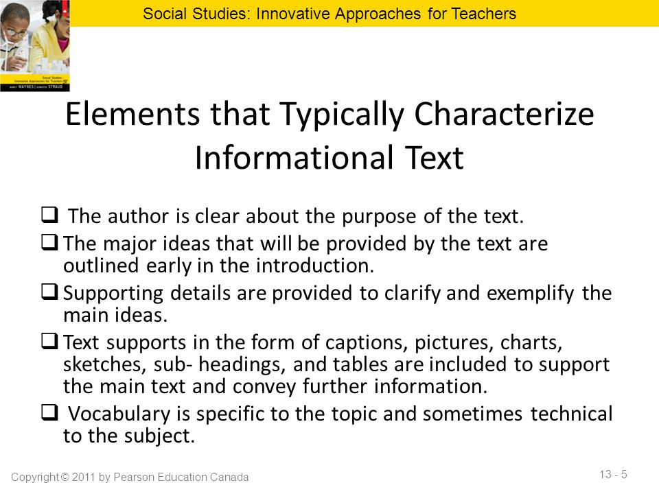 Elements that Typically Characterize Informational Text