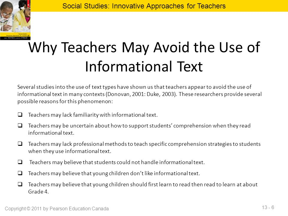 Why Teachers May Avoid the Use of Informational Text