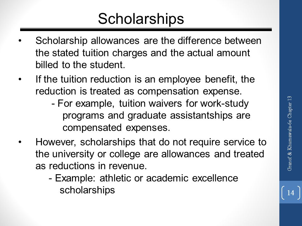 Scholarships Scholarship allowances are the difference between the stated tuition charges and the actual amount billed to the student.