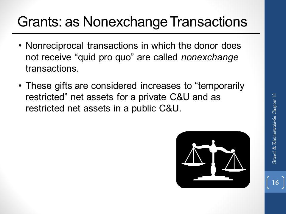 Grants: as Nonexchange Transactions