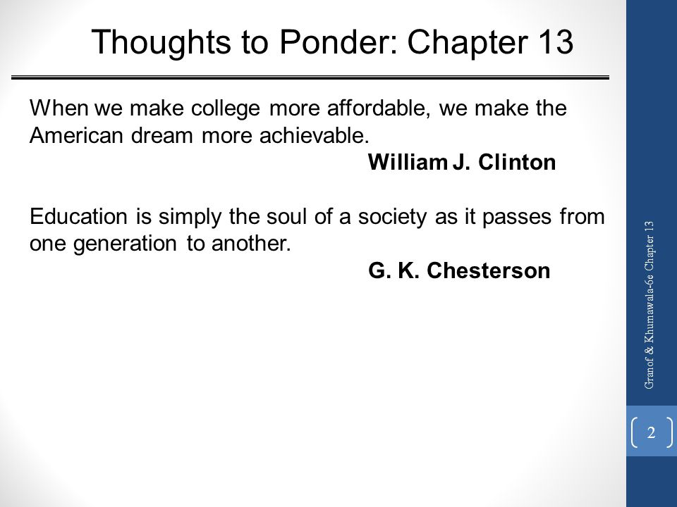 Thoughts to Ponder: Chapter 13