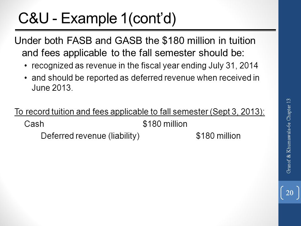 C&U - Example 1(cont'd) Under both FASB and GASB the $180 million in tuition and fees applicable to the fall semester should be: