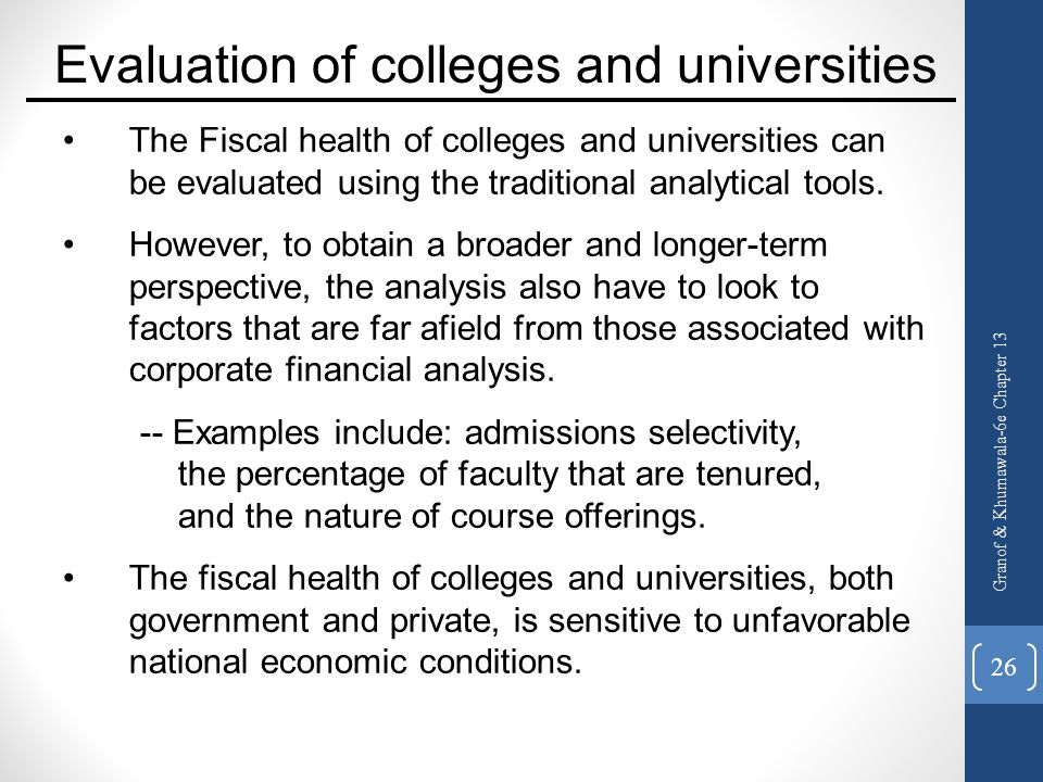 Evaluation of colleges and universities