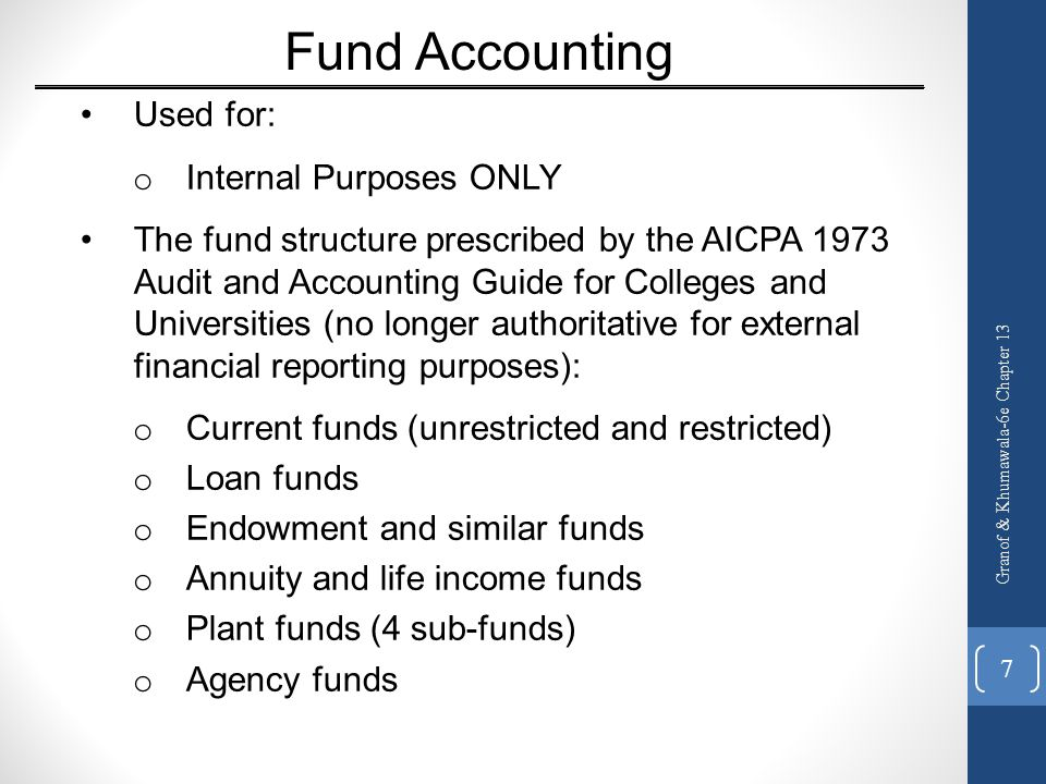Fund Accounting Used for: Internal Purposes ONLY