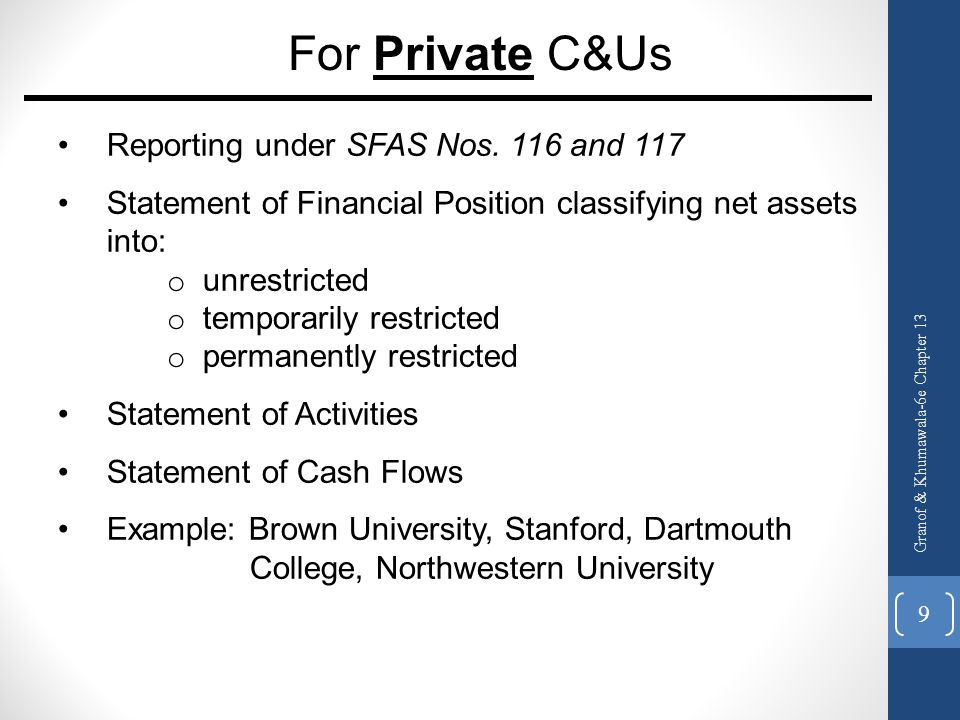 For Private C&Us Reporting under SFAS Nos. 116 and 117