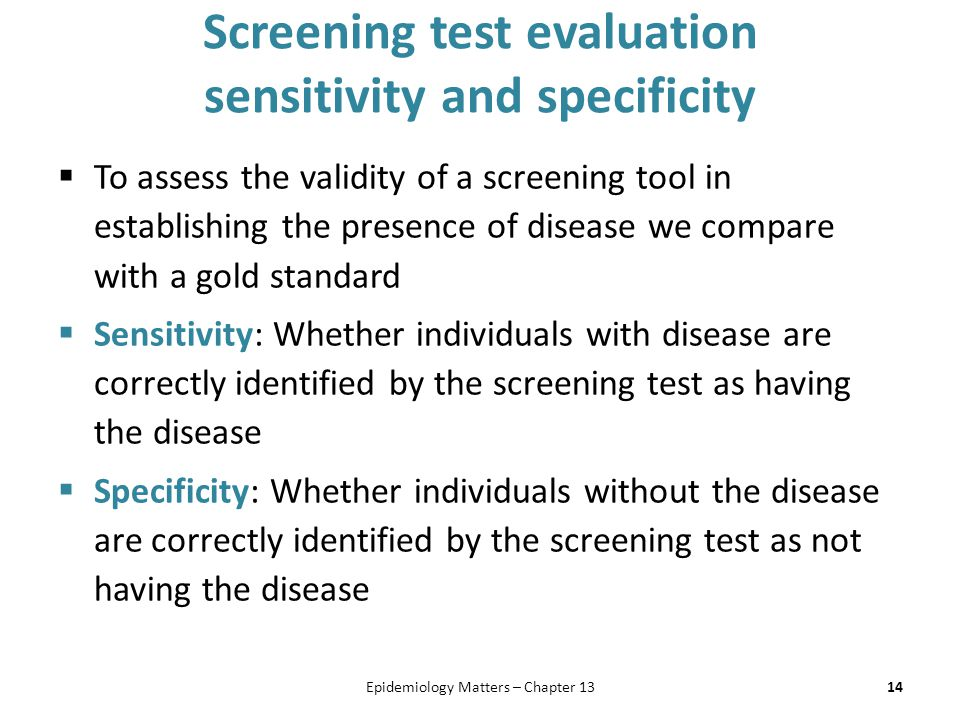 Screening test evaluation sensitivity and specificity