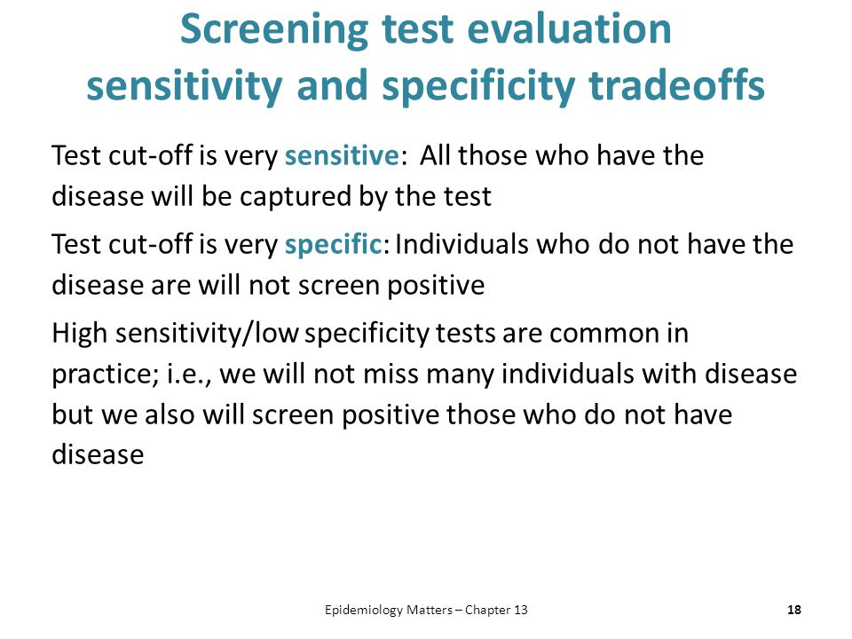 Screening test evaluation sensitivity and specificity tradeoffs