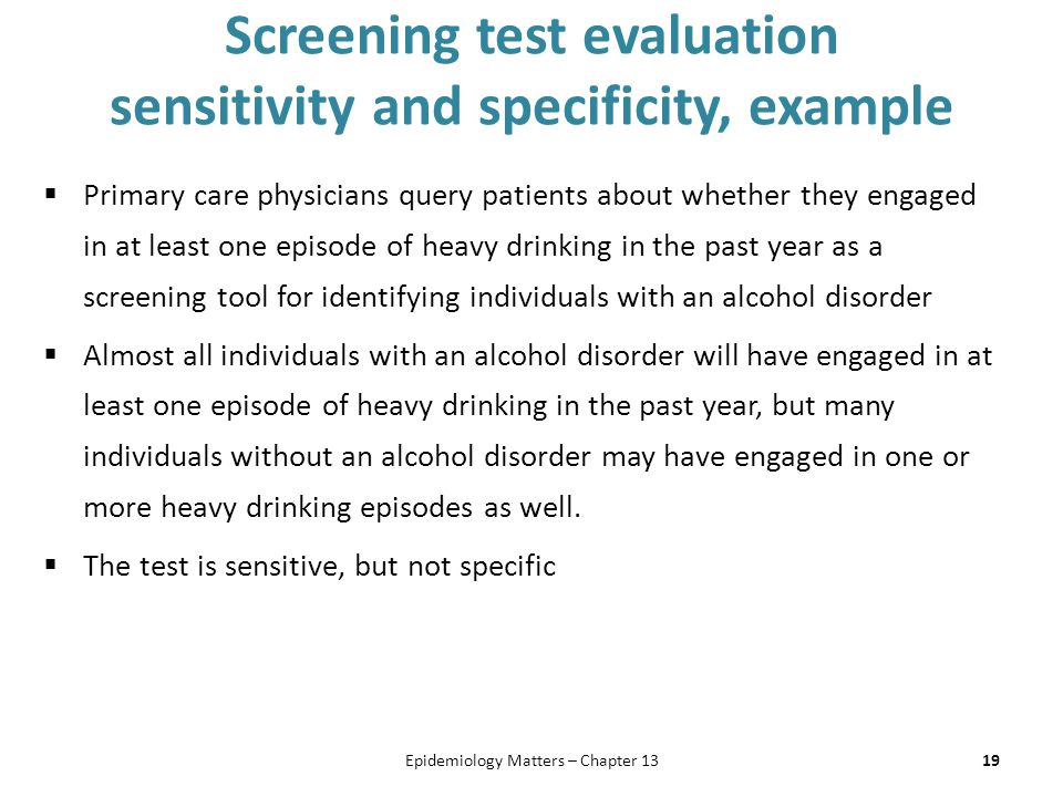 Screening test evaluation sensitivity and specificity, example