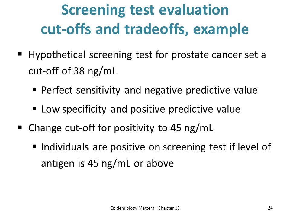 Screening test evaluation cut-offs and tradeoffs, example