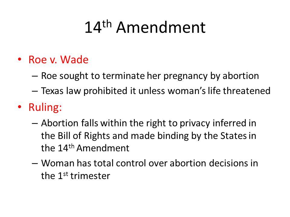 14th Amendment Roe v. Wade Ruling: