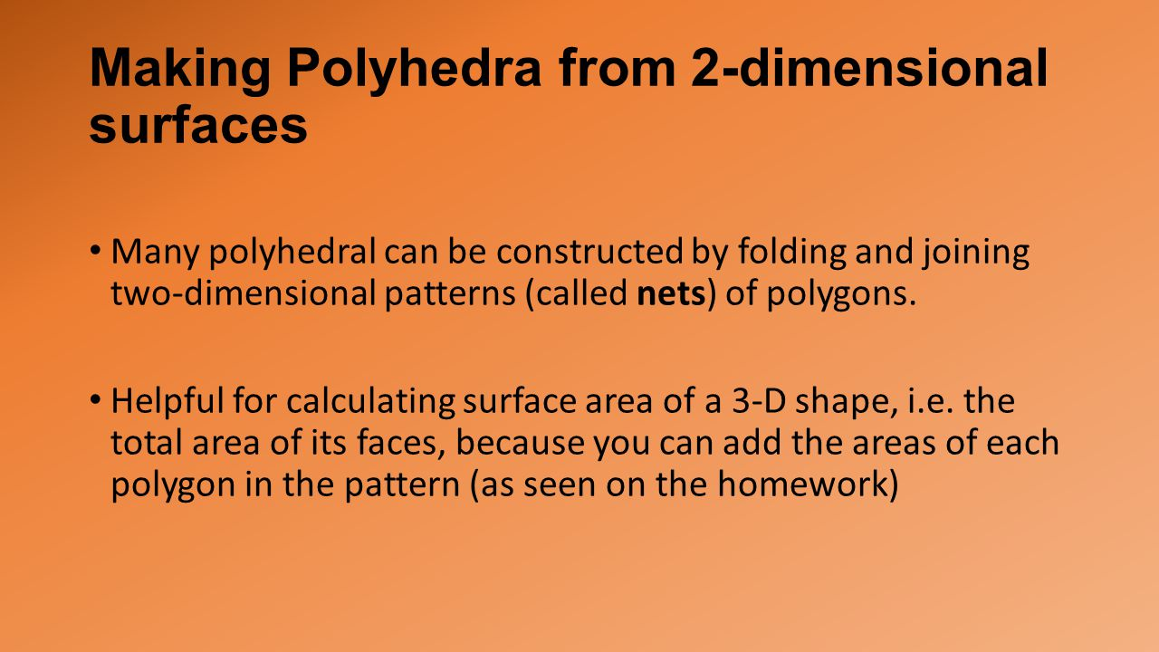 Making Polyhedra from 2-dimensional surfaces