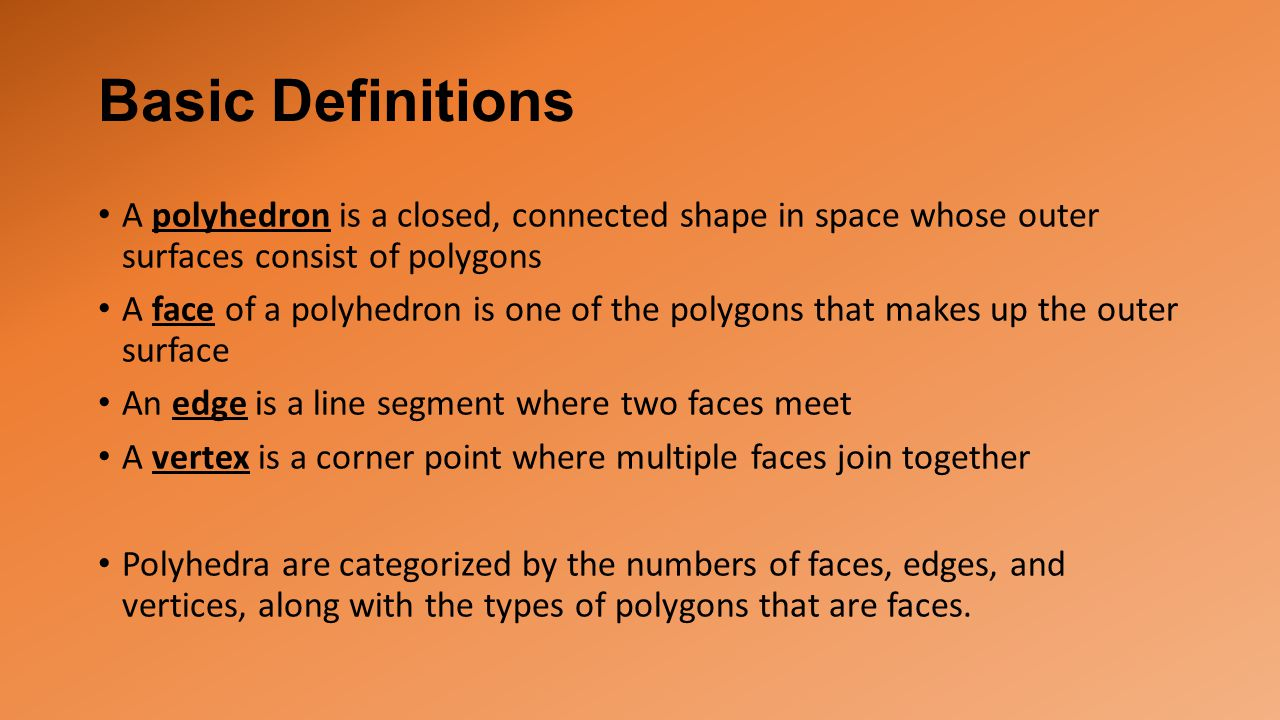 Basic Definitions A polyhedron is a closed, connected shape in space whose outer surfaces consist of polygons.